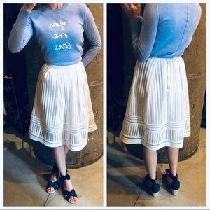 H&M white eyelet midi skirt